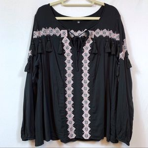 torrid Tops - Torrid Insider Collection Embroidered Peasant Top